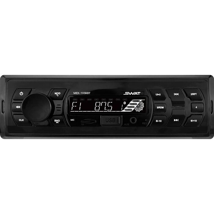 Автомагнитола SWAT MEX-1039BT/1 din медиа ресивер,4х50 вт, MP3,USB,SD,BT,2RCA белые кнопки
