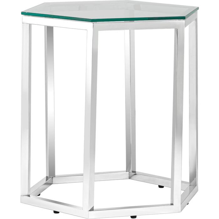Журнальный столик Stool Group Гекс прозрачное стекло, сталь серебро EET-063