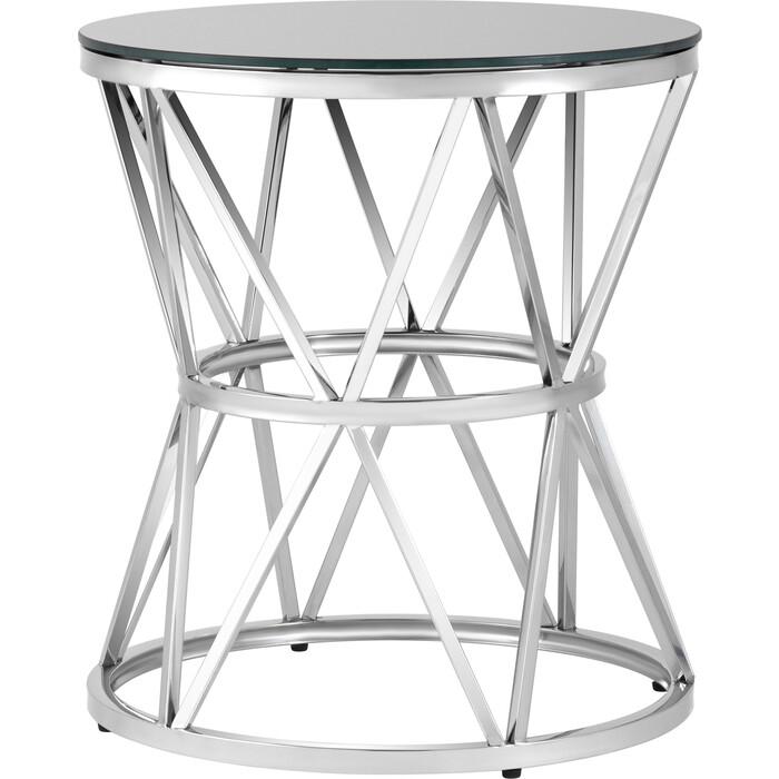 Журнальный столик Stool Group Вива 50x50, стекло черное, сталь серебро EET-080