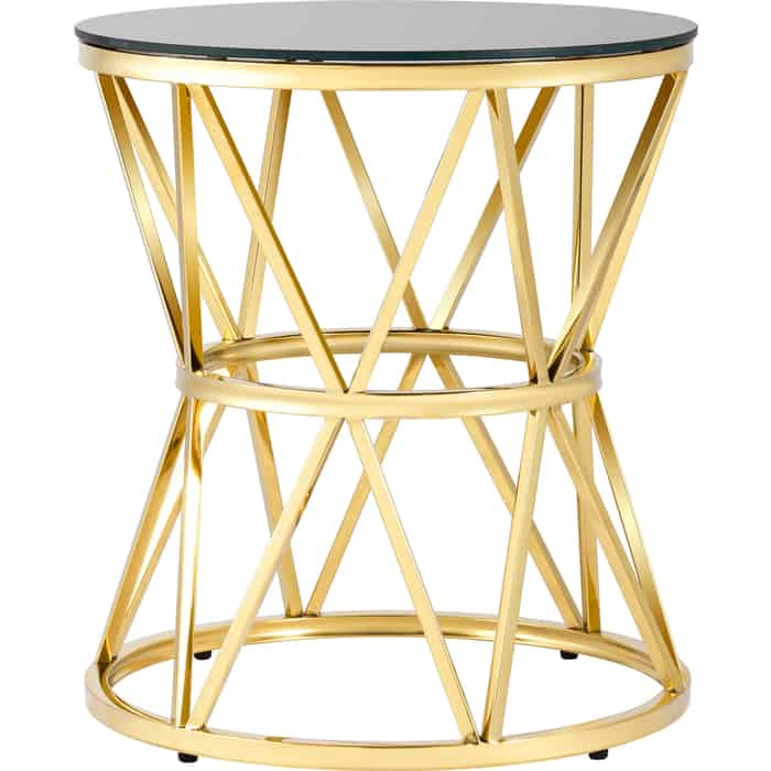 Журнальный столик Stool Group Вива 50x50 стекло черное, сталь золото EET-080-TG