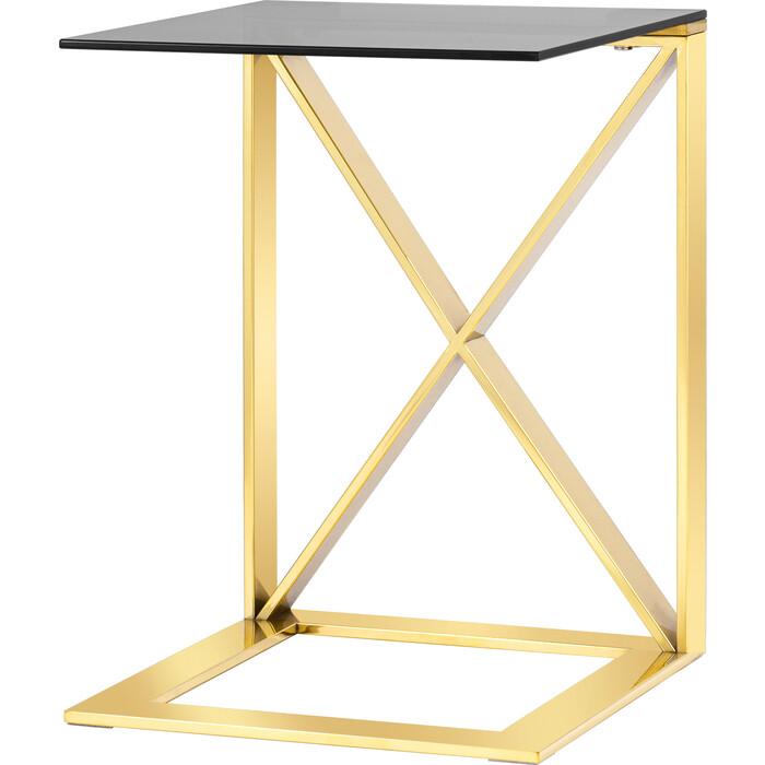 Журнальный столик Stool Group Кросс 40x40 стекло smoke, сталь золото EET-008-C-TG-SK