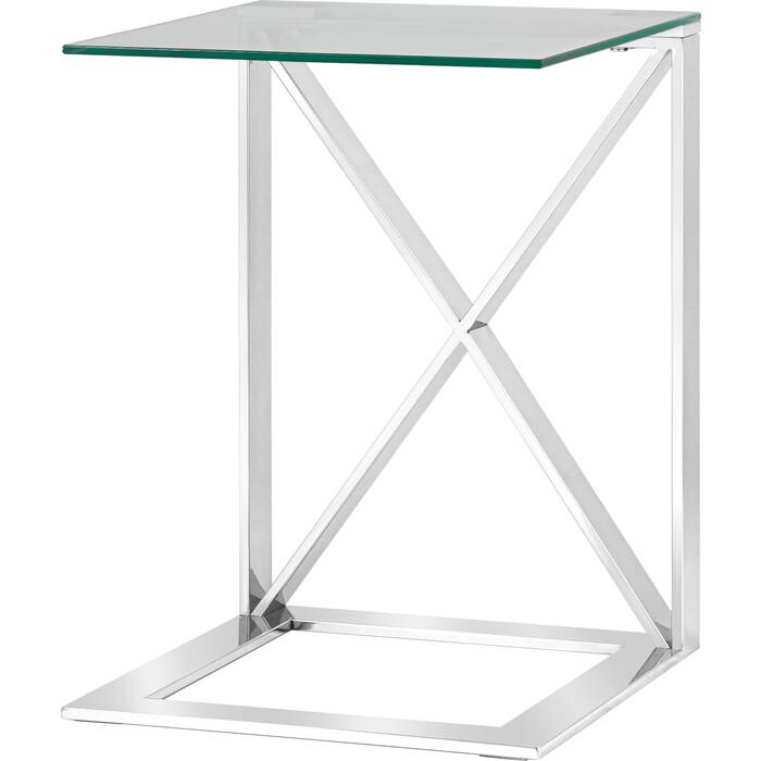 Журнальный столик Stool Group Кросс 55x55 прозрачное стекло, сталь серебро EET-008