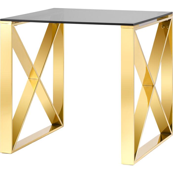 Журнальный столик Stool Group Кросс 55x55 стекло smoke, сталь золото EET-008-TG-SK