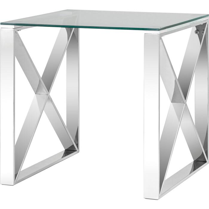 Журнальный стол Stool Group Кросс 120x60 прозрачное стекло, сталь серебро ECT-008