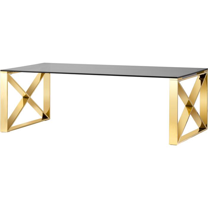 Журнальный стол Stool Group Кросс 120x60 стекло smoke, сталь золото ECT-008-TG-SK
