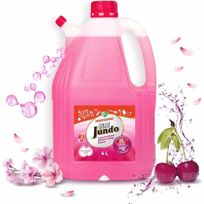 Гель для мытья посуды и детских принадлежностей Jundo Sakura, с гиалуроновой кислотой, концентрат, 4 л