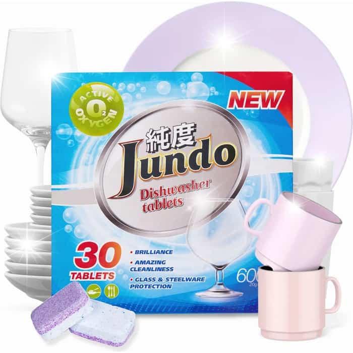 Таблетки для посудомоечной машины (ПММ) Jundo Active Oxygen 3 в 1,без запаха, 30 шт