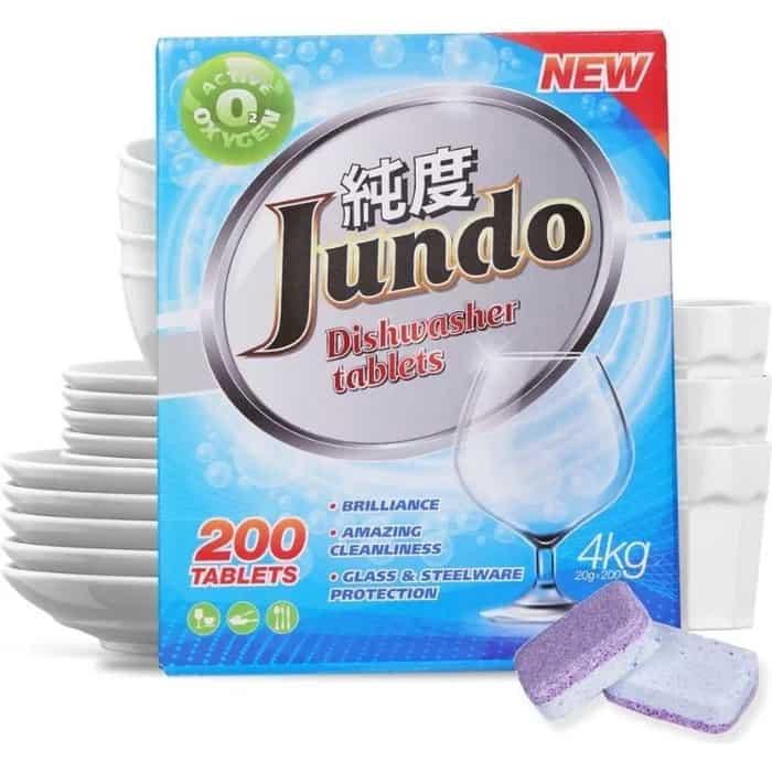Фото - Таблетки для посудомоечной машины (ПММ) Jundo Active Oxygen 3 в 1, без запаха, 200 шт бытовая химия jundo active oxygen таблетки для посудомоечных машин с активным кислородом 30 шт