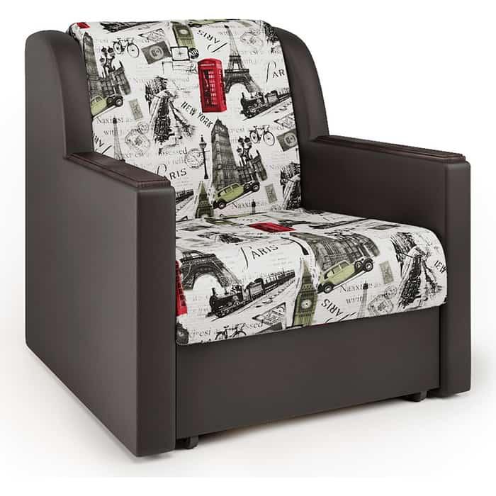 Кресло-кровать Шарм-Дизайн Аккорд Д велюр Париж и экокожа шоколад