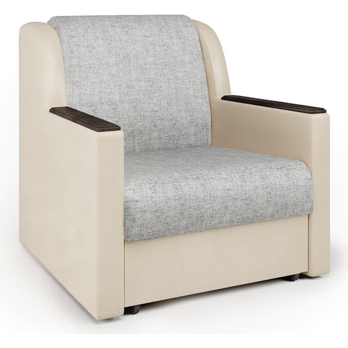 Кресло-кровать Шарм-Дизайн Аккорд Д экокожа беж и серый шенилл