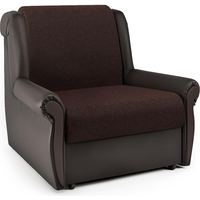 Кресло-кровать Шарм-Дизайн Аккорд М рогожка шоколад и экокожа