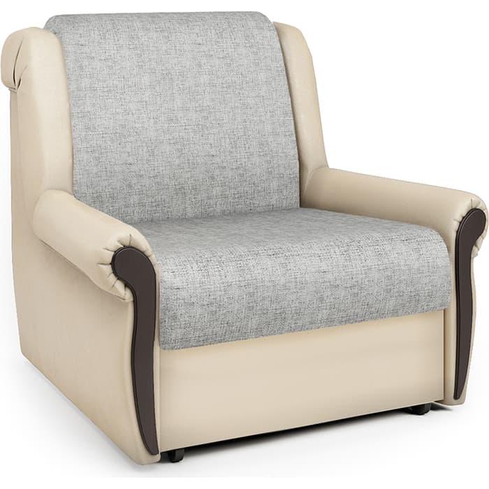 Кресло-кровать Шарм-Дизайн Аккорд М экокожа беж и серый шенилл