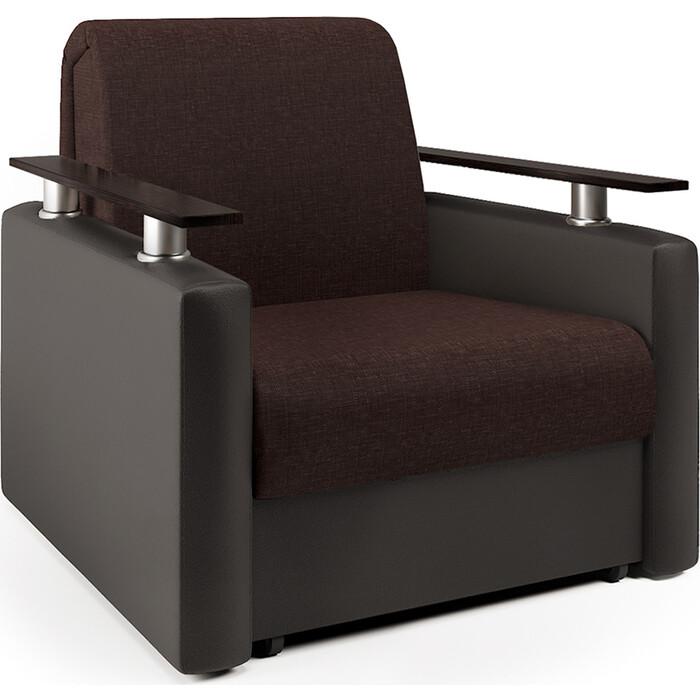Кресло-кровать Шарм-Дизайн Шарм рогожка шоколад и экокожа
