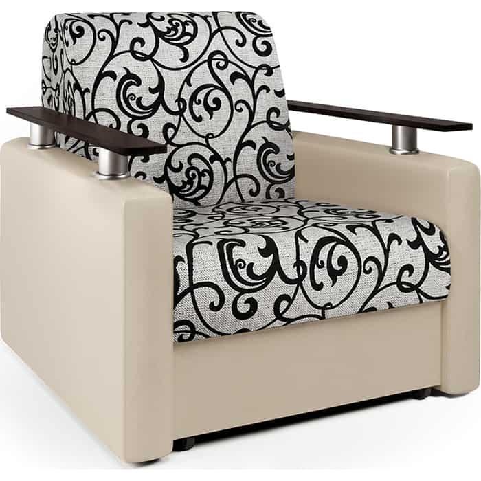 Кресло-кровать Шарм-Дизайн Шарм экокожа беж и узоры