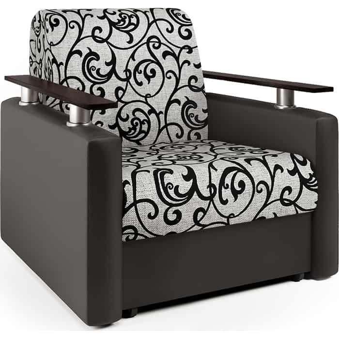 Кресло-кровать Шарм-Дизайн Шарм экокожа шоколад и узоры