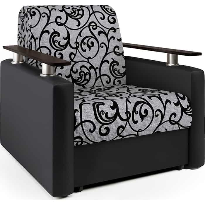Кресло-кровать Шарм-Дизайн Шарм экокожа черная и узоры