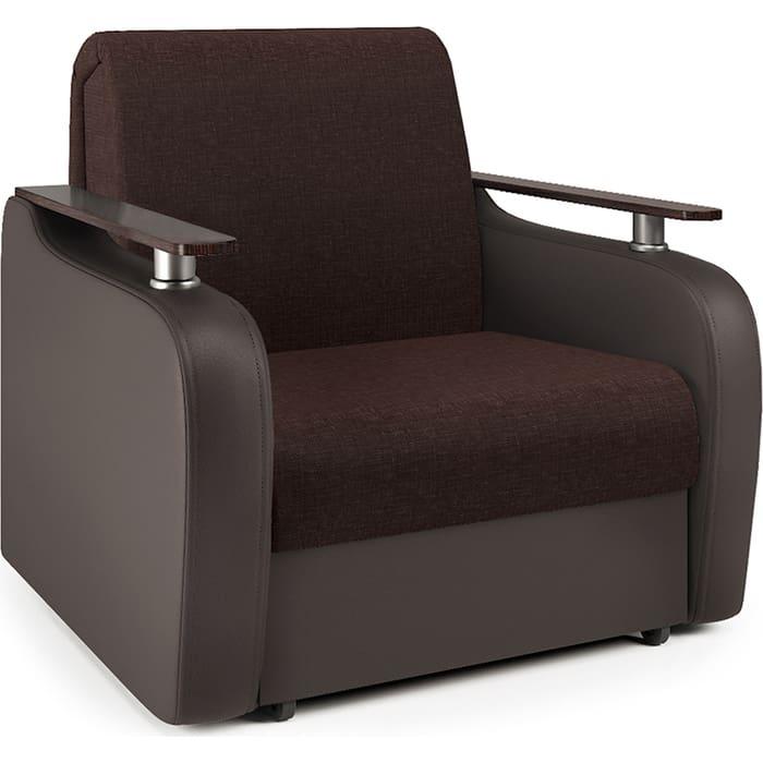 Кресло-кровать Шарм-Дизайн Гранд Д рогожка шоколад и экокожа