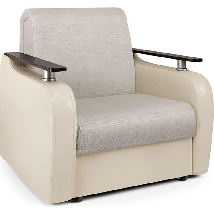 Кресло-кровать Шарм-Дизайн Гранд Д экокожа беж и шенилл