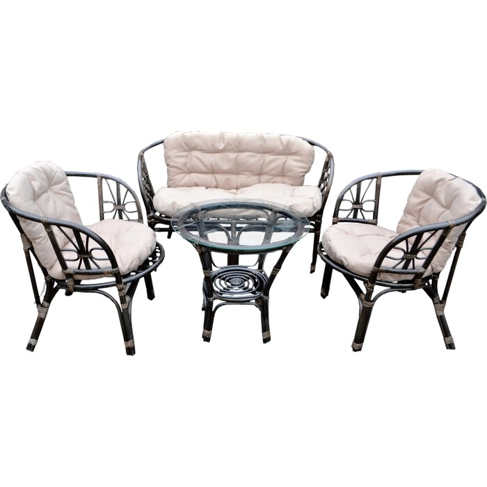 Набор мебели Мебельторг Багамы (диван+2 кресла+стол) каркас коньячный, подушки бежевые BS001-MT001