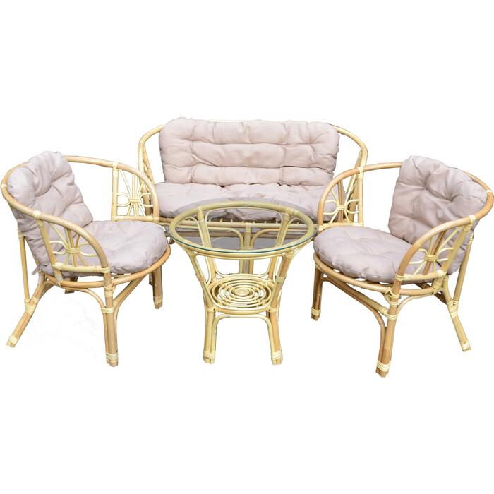 Набор мебели Мебельторг Багамы (диван+2 кресла+стол) каркас медовый, подушки бежевые BS001-MT002