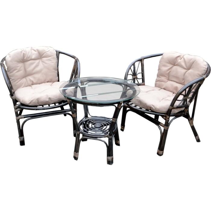 Набор мебели Мебельторг Багамы Мини (2 кресла+стол) каркас коньячный, подушки бежевые BTS01-MT002