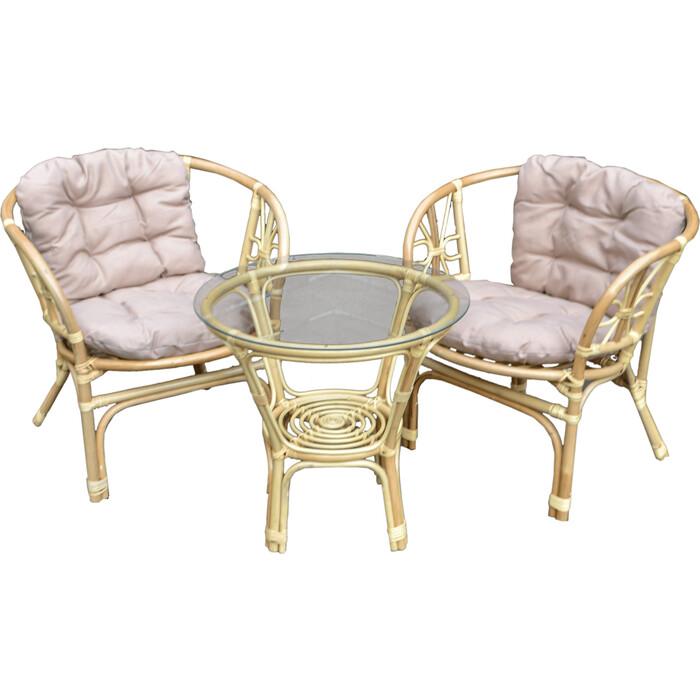 Набор мебели Мебельторг Багамы Мини (2 кресла+стол) каркас медовый, подушки бежевые BTS01-MT001