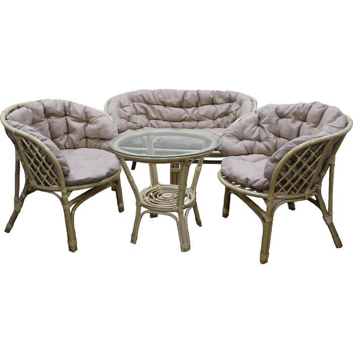 Набор мебели Мебельторг Багамы Премиум (диван+2 кресла+стол) каркас медовый, подушки бежевые BS001/1-MT001