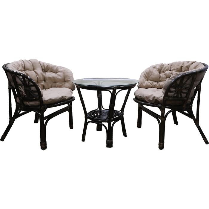 Фото - Набор мебели Мебельторг Багамы Премиум мини (2 кресла+стол) каркас коньячный, подушки бежевые BTS01/1-MT002 комплект садовой мебели бел мебельторг набор мебели сан ремо мини