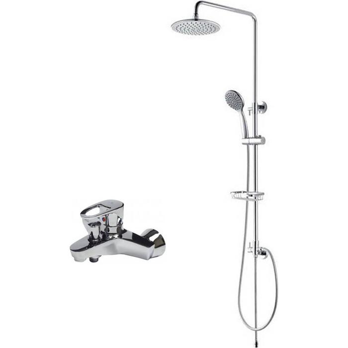 Смеситель для ванны Kaiser Luxor с верхним душем и душевым гарнитуром, хром (32022, 2060/2065)