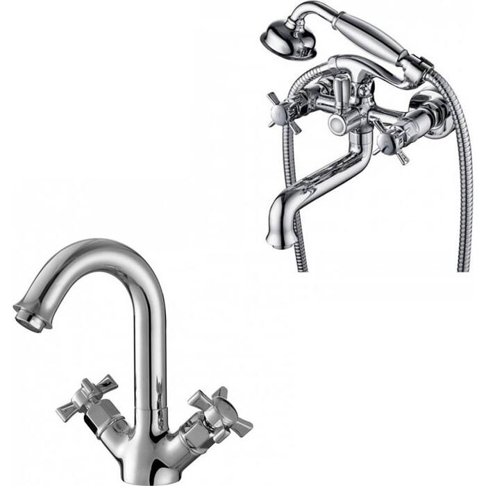 Набор смесителей Kaiser Cross для раковины, ванны, с ручным душем, хром