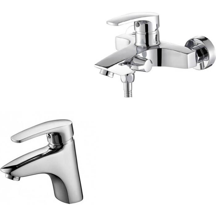 Набор смесителей Kaiser Guss для раковины, ванны, с ручным душем, хром