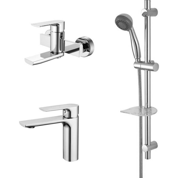 Набор смесителей Kaiser Linear для раковины, ванны, душевой гарнитур, хром