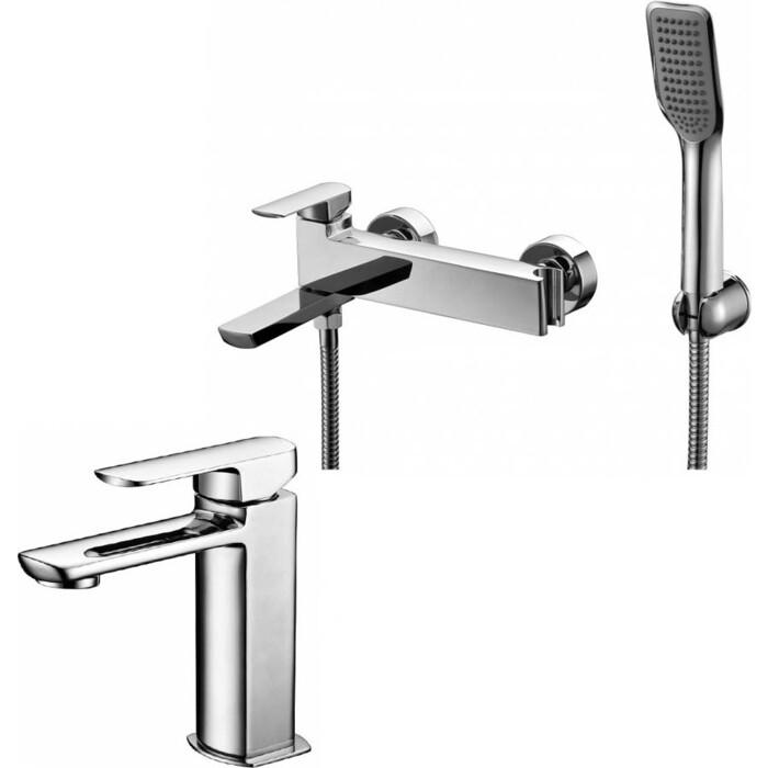 Набор смесителей Kaiser Saga для раковины, ванны, с ручным душем, хром