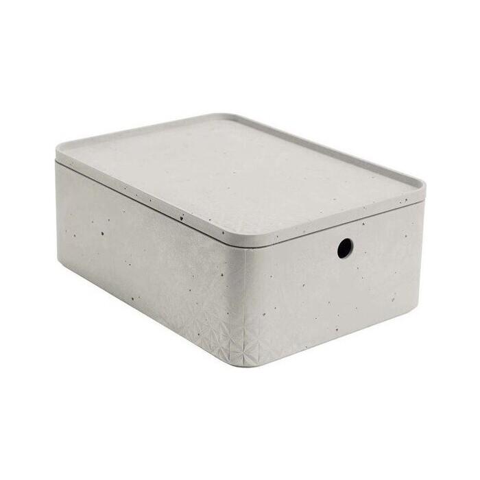 Декоративный ящик CURVER BETON M RECT BOX+LID grey 25x34x13 см (243400)