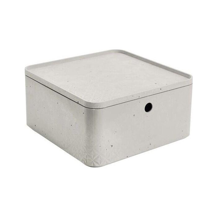 Декоративный ящик CURVER BETON L 1/2 CUBE BOX+LID grey 28x28x14 см (243401)