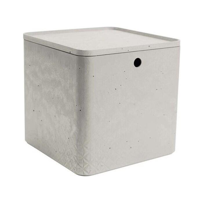 Декоративный ящик CURVER BETON XL CUBE BOX+LID grey 28x28x27 см (243402)