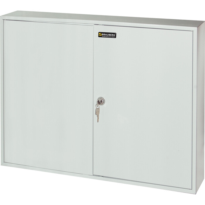Шкафчик (ключница) BRAUBERG на 300 ключей с замком + брелоков, серый 290341