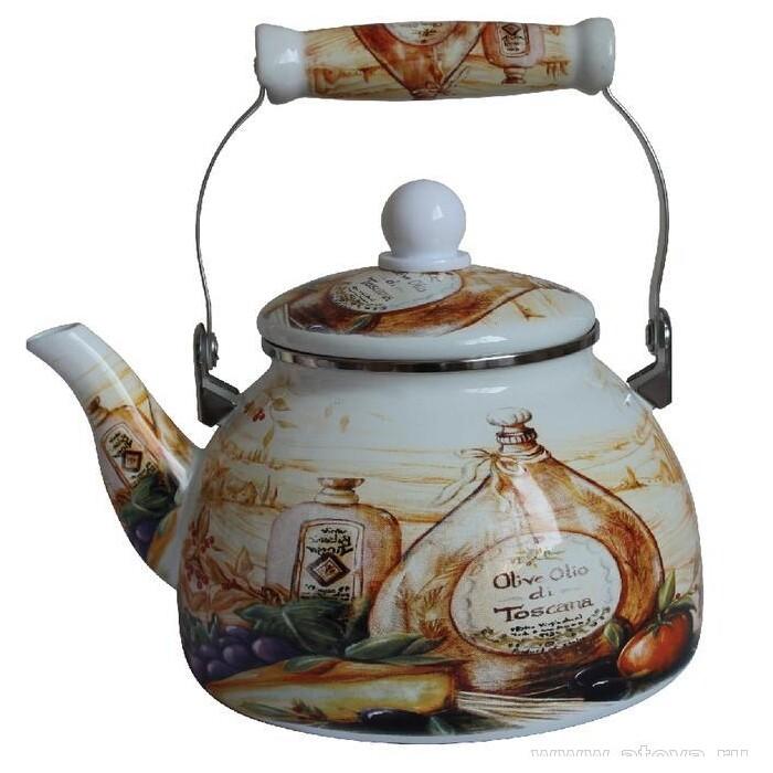 Чайник эмалированный со свистком Mercury 2.2 л (MC-7523)