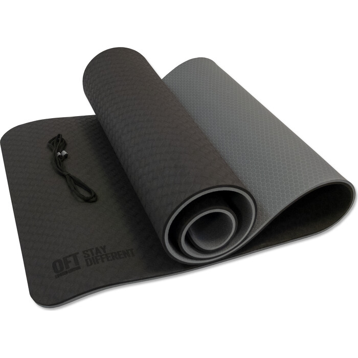 Коврик для йоги Original FitTools 10 мм двухслойный TPE черно-серый сэндбэг original fittools нагрузка до 40 кг черно серый