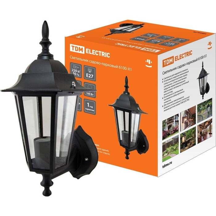 Фото - Светильник TDM ELECTRIC 6100-01 садово-парковый шестигранник, 100 Вт, вверх, черный de markt садово парковый светильник глазго 2 815041101
