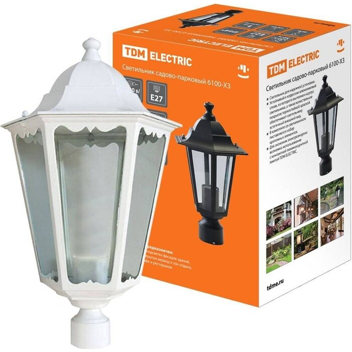 Светильник TDM ELECTRIC 6100-23 садово-парковый шестигранник, 100 Вт, на опору, белый 0 pr на 100
