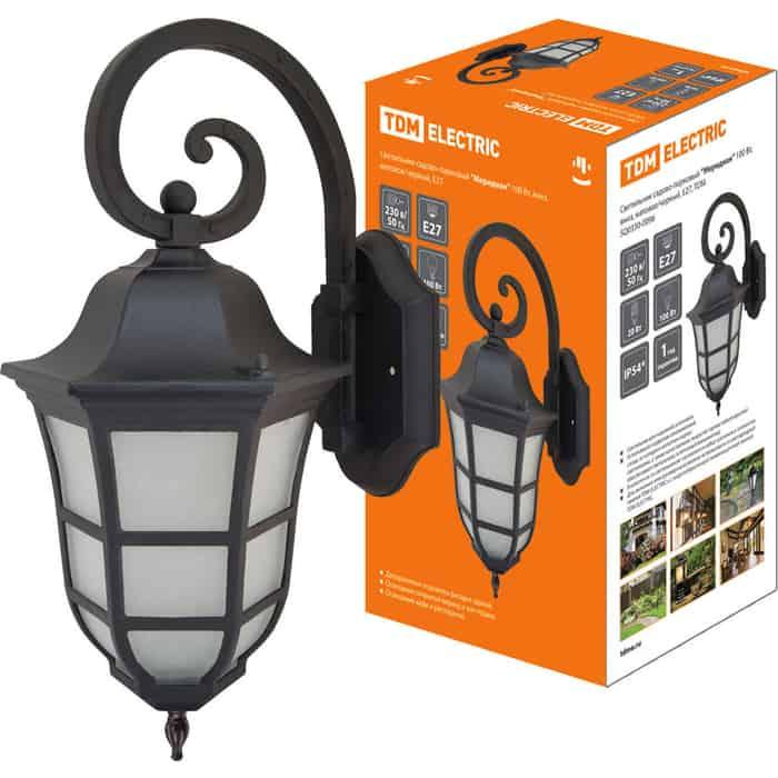 Светильник TDM ELECTRIC садово-парковый Меридиан 100 Вт, вниз, матовое/черный, Е 27,