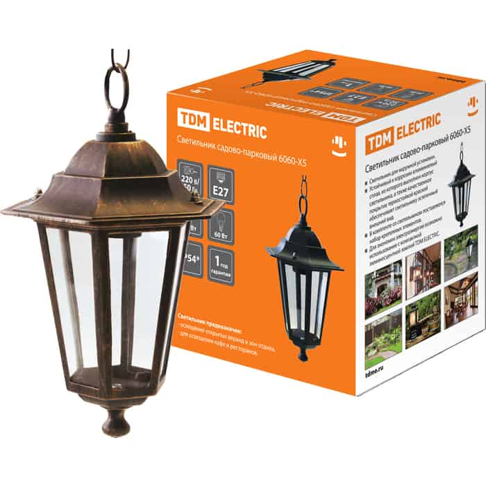 Светильник TDM ELECTRIC садово-парковый НСУ 06-60-001 шестигранник, подвес, пластик, бронза