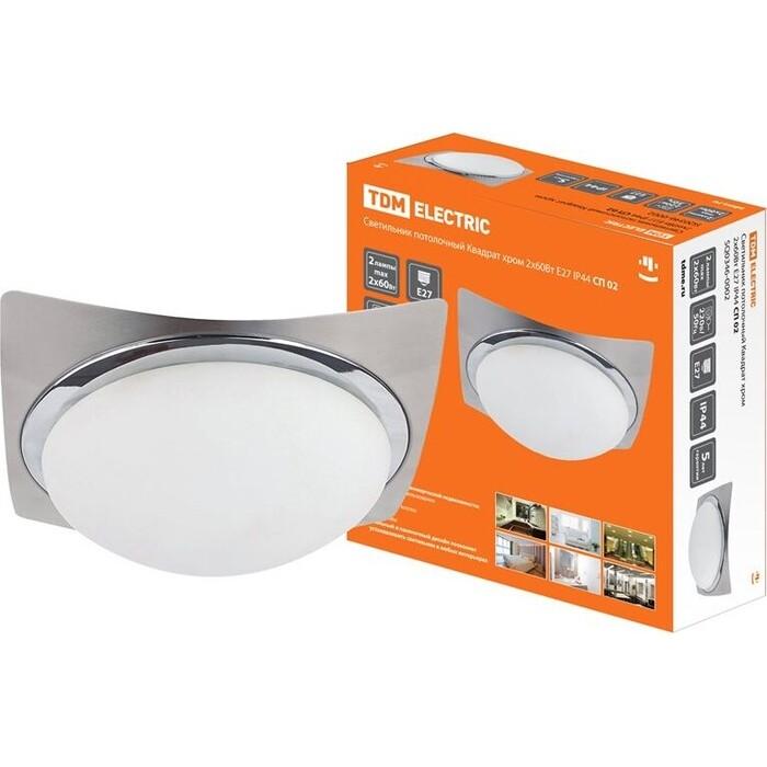 Светильник TDM ELECTRIC потолочный Квадрат хром 2x60 Вт E27 IP 44 СП 02