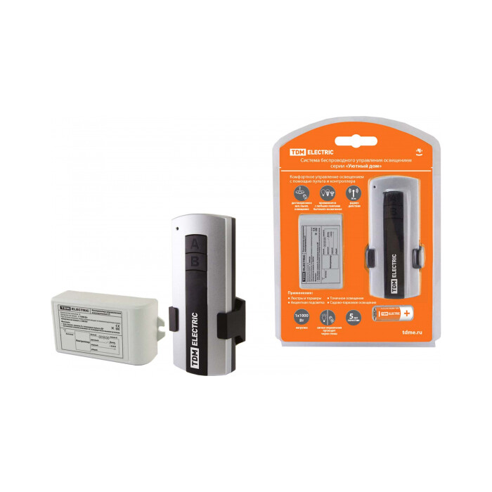Управление освещением TDM ELECTRIC Комплект для беспроводного управления освещением ПУ 1-МК-1 (1 канал)