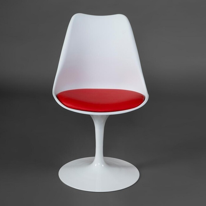 Стул TetChair TULIP FASHION CHAIR (mod.109), металл/пластик/ PU, 55x48x81 см, белый/красный