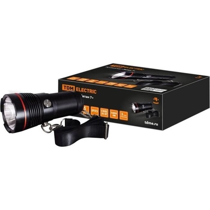 Прожектор TDM ELECTRIC Титан 7, 30 Вт CREE 3600 лм, 4x18650, IPX5, Type - C,