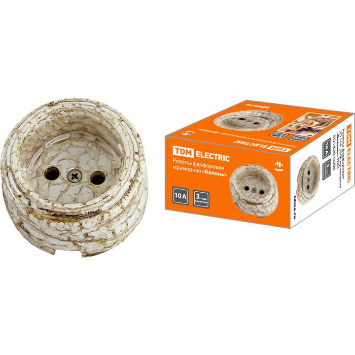 Розетка TDM ELECTRIC фарфоровая 2П 10 А 250 В мраморная Болонь