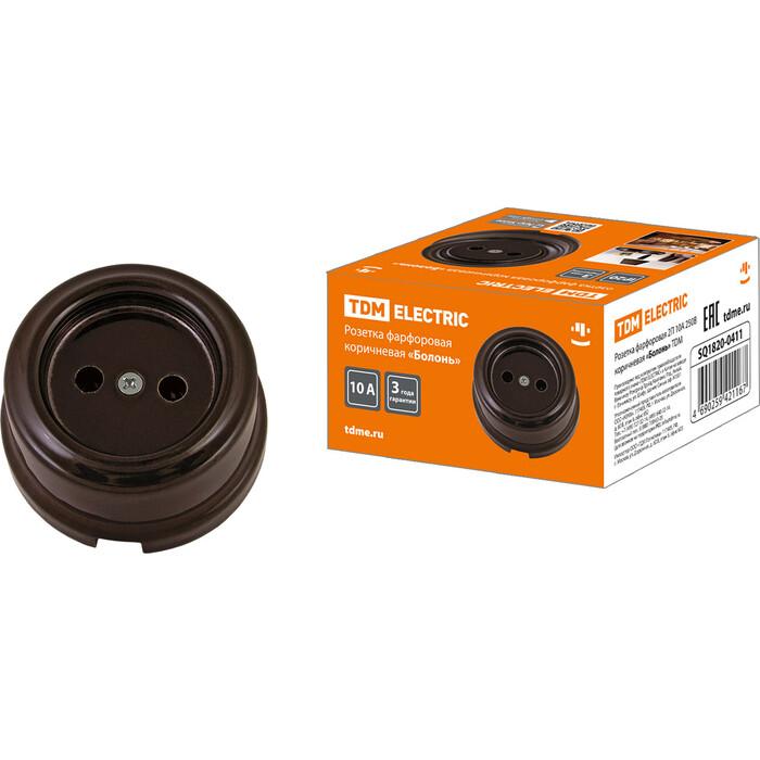 Розетка TDM ELECTRIC фарфоровая 2П 10 А 250 В коричневая Болонь