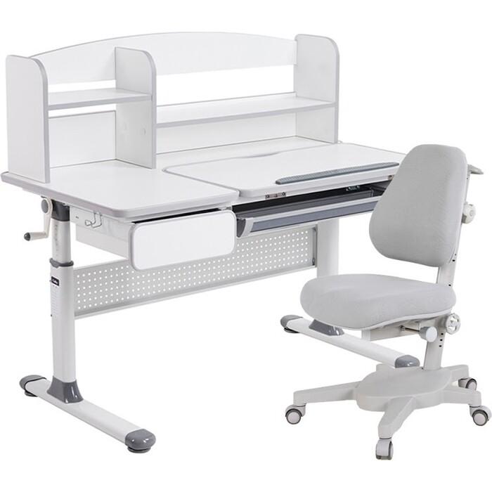 Комплект FunDesk Парта Rimu grey + кресло Solidago grey комплект fundesk парта rimu grey кресло pratico grey